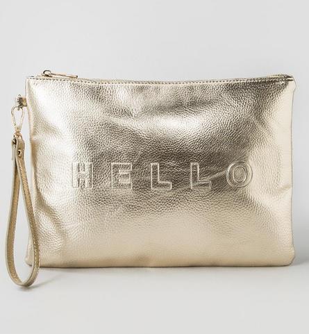 Hello & Goodbye Metallic Clutch